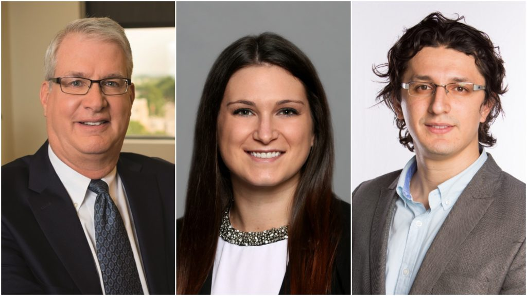 Panelists for the event How Will Data Analytics Shape Health Care: Patrick Roohan of MVP, Meghan Morrissey of HANYS and Eyyub Kibis of The College of Saint Rose