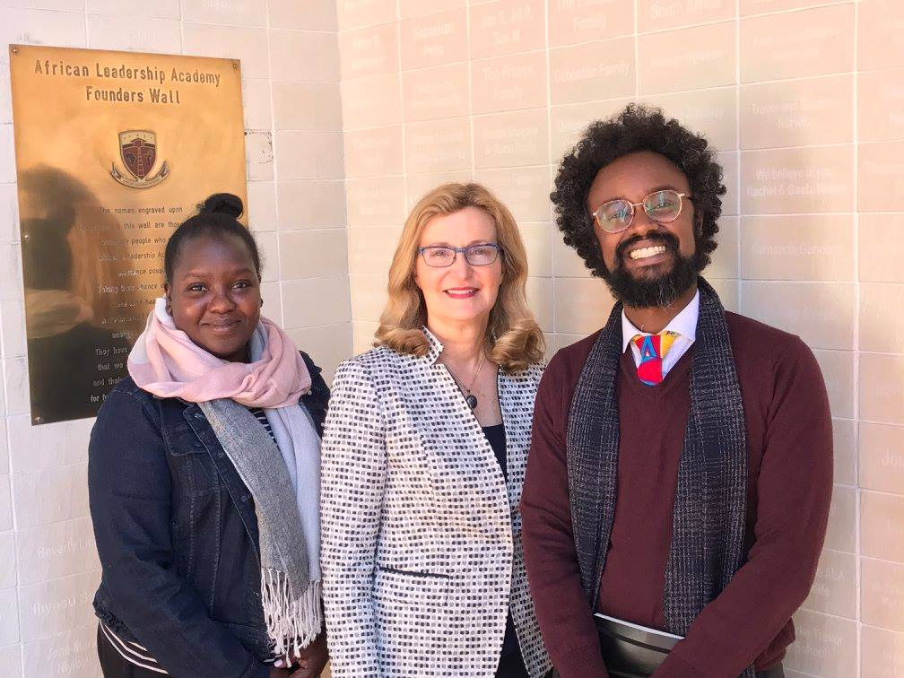 Saint Rose President Carolyn J. Stefanco with African Leadership Academy Director of University Guidance Chemeli Kipkorir, at left, and Dean of the Academy Hatim A. Eltayeb, at right.