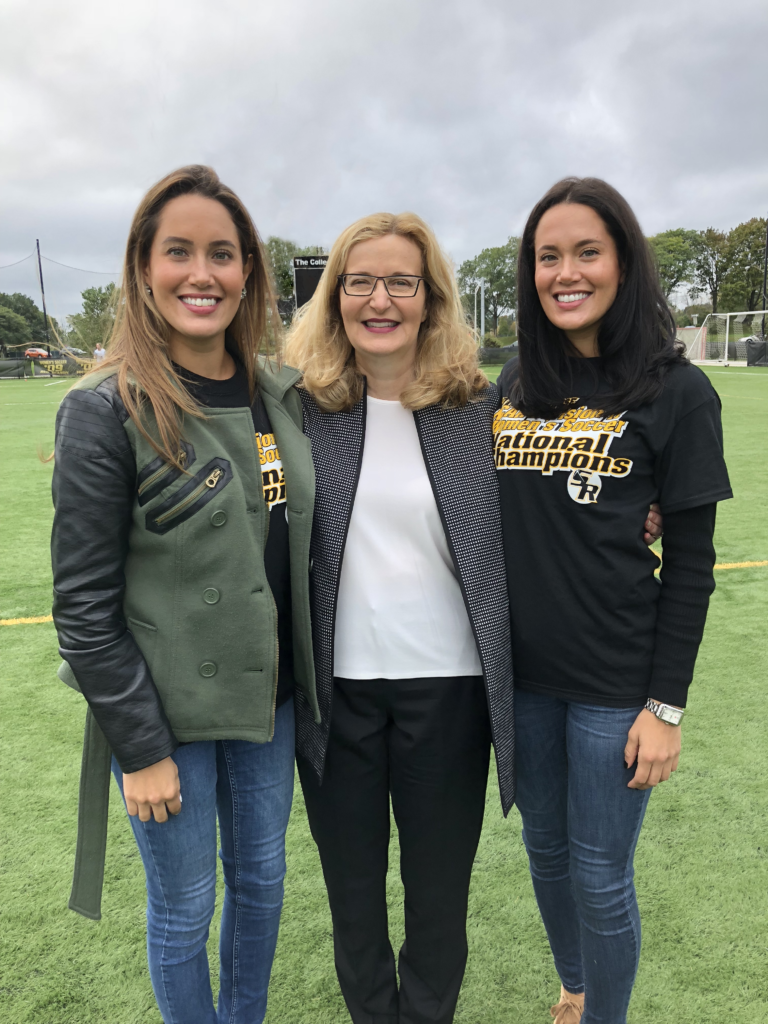 Saint Rose President Carolyn J. Stefanco with former Saint Rose women's soccer players and alumni, Gianna and Nicola D'Errico