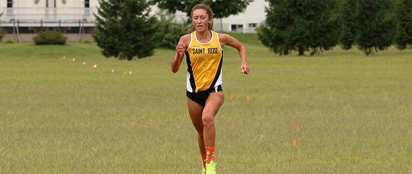 Christine Myers, cross country runner at Saint Rose competes