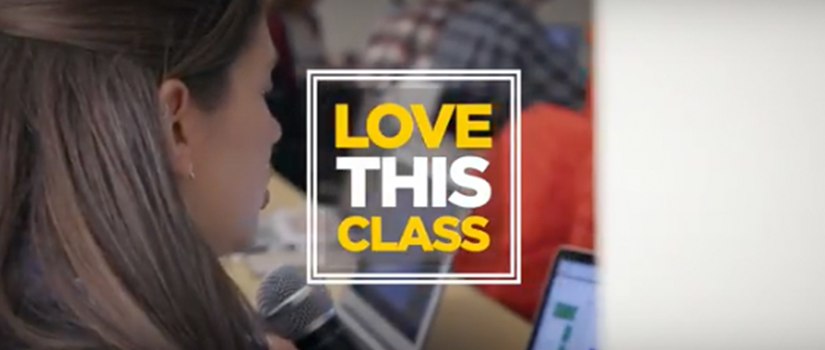 Screenshot of video with student at a computer and Love This Class logo on the screen