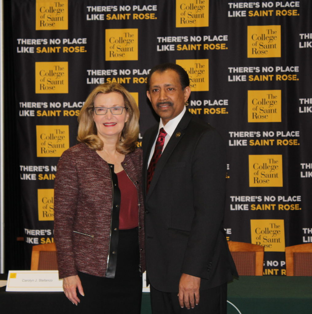 Saint Rose President Carolyn J. Stefanco with Hudson Valley Community College President HVCC President Roger A. Ramsammy at the signing for an articulation agreement for cybersecurity between the two institutions.