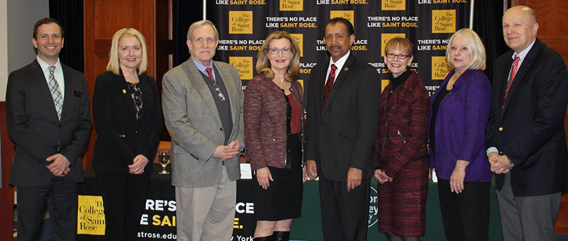 Saint Rose and Hudson Valley Community College officials at articulation agreement signing for cybersecurity