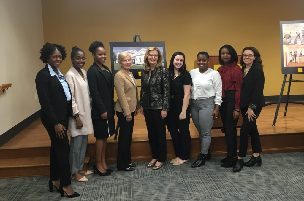 President Carolyn J. Stefanco with the BOLD Women's Leadership Scholars and Michelle Borisenok '80