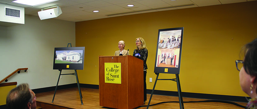 Saint Rose President Carolyn J. Stefanco and trustee and donor Michelle Borisenok '80 at news conference