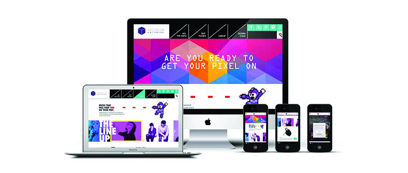 Design Media Arts example on desktop, laptop and smartphone screens