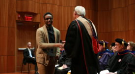 School of Business student receives award from Dean Mathews at Honors Convocation
