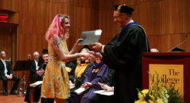 Arts and Humanities student receives award at Honors Convocation from Dean Marlett