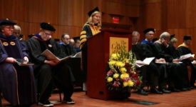 President Carolyn J. Stefanco addresses crowd at Honors Convocation