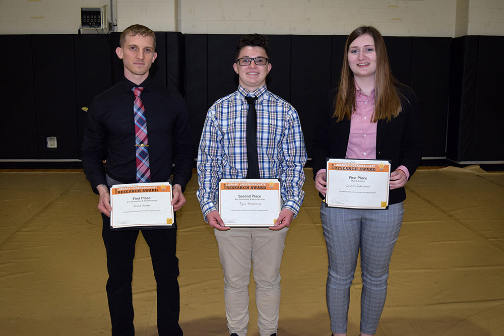 Undergraduate Research Award winners in the Nolan P. Gymnasium