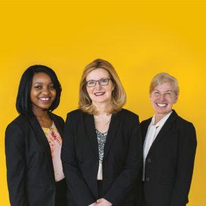 Michelle Cuozzo Borisenok, Helen Jumo, and President Carolyn J. Stefanco of Saint Rose