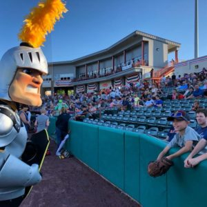 Fear the Golden Knight talking to kids at the Tri-City ValleyCats game