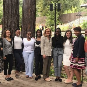 Saint Rose President Carolyn J. Stefanco with the 2020 BOLD Scholars and Yolanda Caldwell and Lisa Haley Thomson at the International Leadership Association's Women and Leadership 2019 conference.