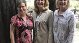 Saint Rose Chief of Staff Lisa Haley Thomson, Saint Rose President Carolyn J. Stefanco, and International Leadership Association President and CEO Cynthia Cherrey