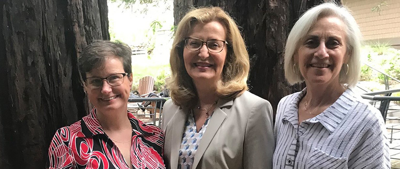 From left to right, Saint Rose Chief of Staff Lisa Haley Thomson, Saint Rose President Carolyn J. Stefanco, and International Leadership Association President and CEO Cynthia Cherrey.
