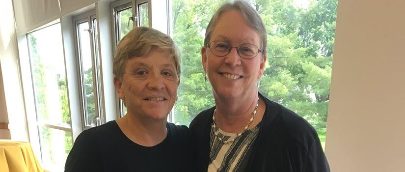 Retired Saint Rose Athletics Director Cathy Cummings Haker (right) with Karen Haag, Saint Rose women's basketball coach