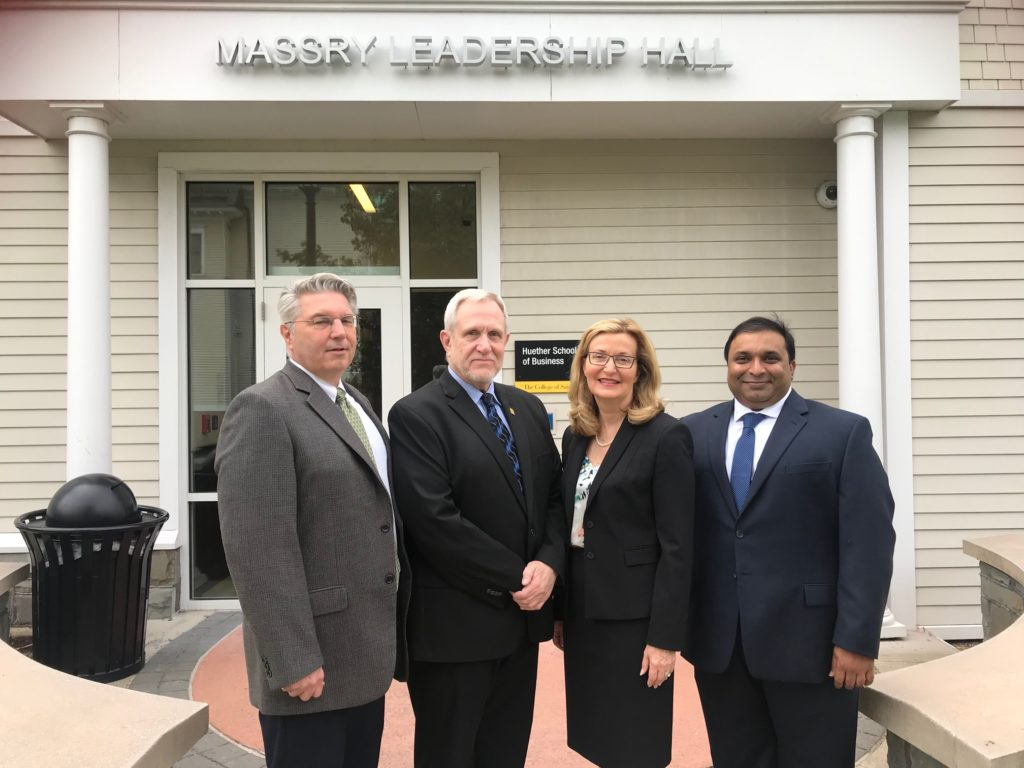 From left to right, Dr. Gerald (Gerry) Lorentz, dean of the School of Arts and Humanities; Dr. Steven Ralston, provost and vice president for academic affairs; President Carolyn J. Stefanco; and Dr. Rajarshi (Raj) V. Aroskar, dean of the Huether School of Business.