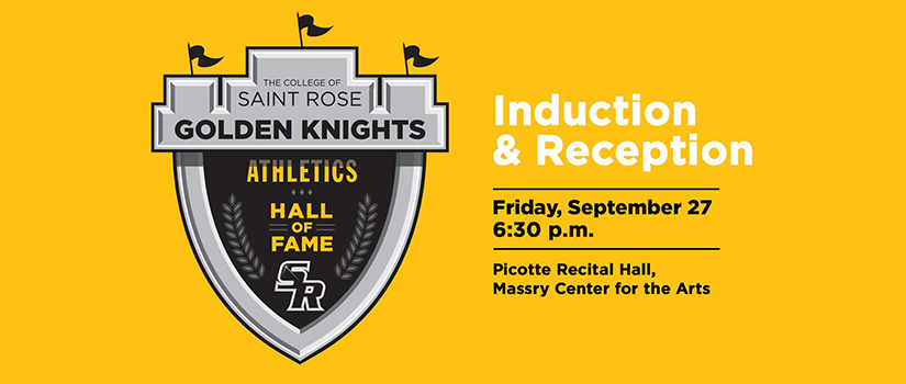 graphic for the induction and reception for the athletic hall of fame