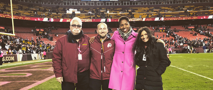 Sara Biancosino '17 with others on FedExField