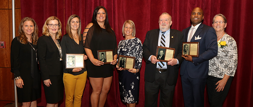 Saint Rose Athletics Hall of Fame inductees for 2019 with college officials