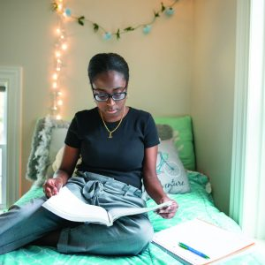 Resident room: Senior BOLD Scholar Arianna Paul studies on the second floor of the Borisenok House, where the seven members of the senior BOLD Scholar cohort live. The house was designed as a living-learning community and includes a kitchen area on the second floor for the Scholars to use.