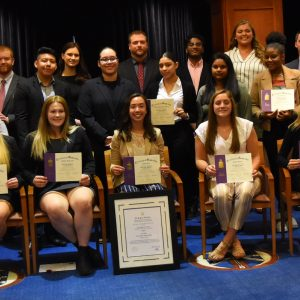 Pi Sigma Epsilon inductees at Saint Rose with supporters