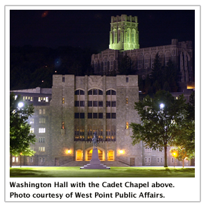 Washington Hall with the Cadet Chapel above.
