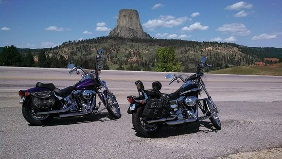 two motorcycles devils tower