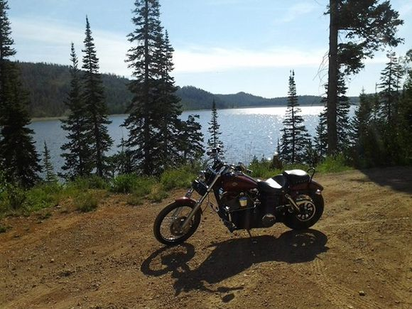 motorcycle by lake