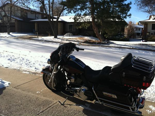 motorcycle in the snow