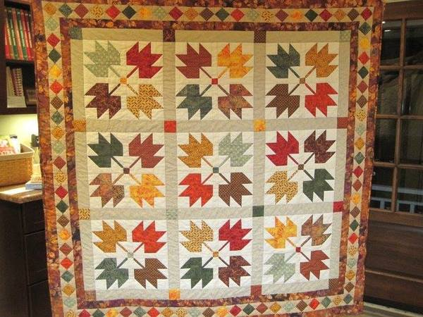 Maple Leaves And A Quilt Built On A Legend 24 Blocks