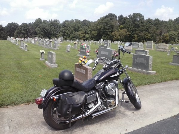 motorcycle at cemetery