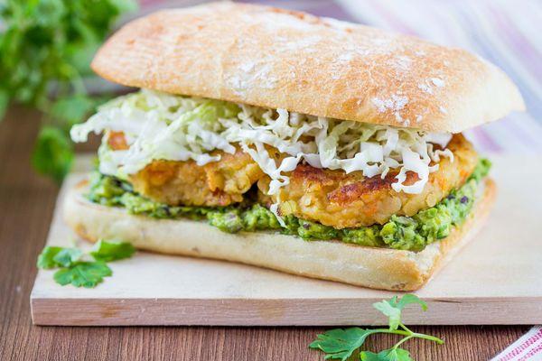 Vegetarian Recipe: Lentil Burgers with Guacamole