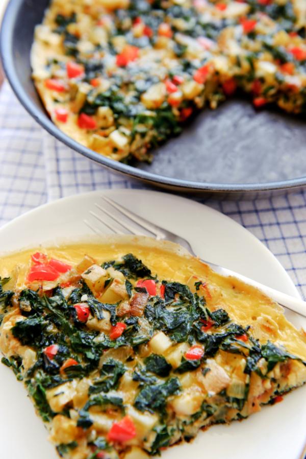 Healthy One-Pot Recipe: Spinach, Red Pepper & Potato Frittata