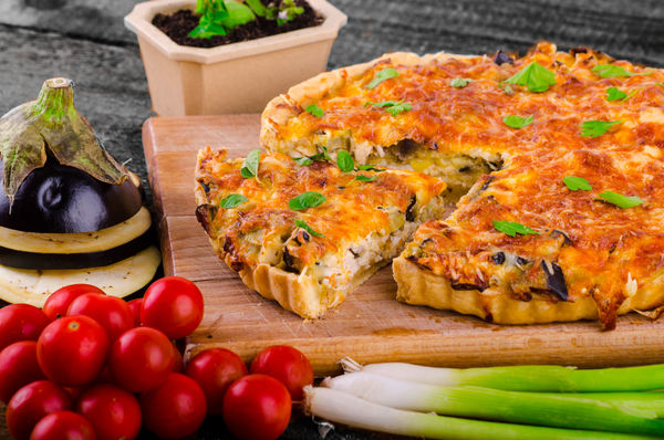 Fresh Brunch Recipe: Eggplant Quiche with Onions and Leeks