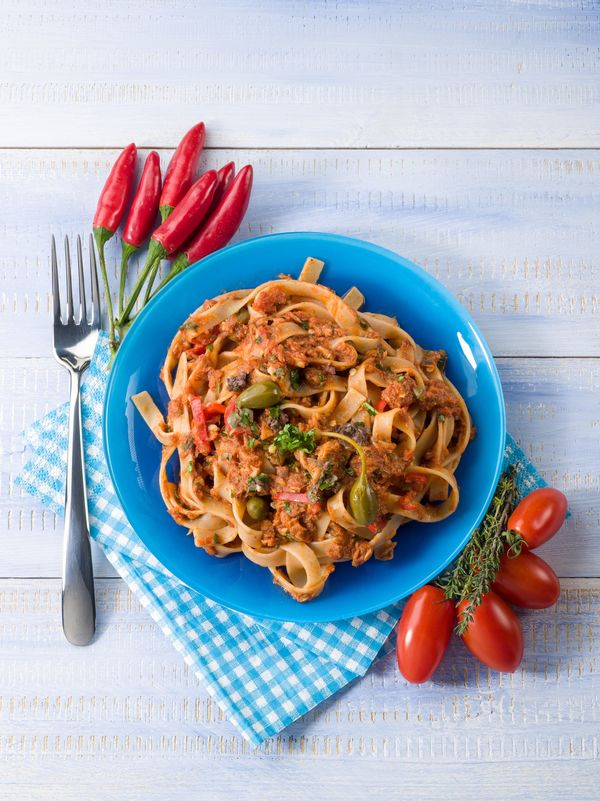 Pasta Recipe: Tagliatelle With Tuna Tomato Sauce & Capers