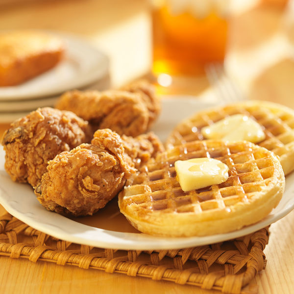 Classic American Recipe: Fried Chicken And Waffles With Maple Syrup