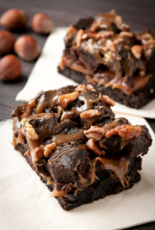 Decadent Dessert Recipe: 3-Layer Salted Caramel Hazelnut Brownie Bars