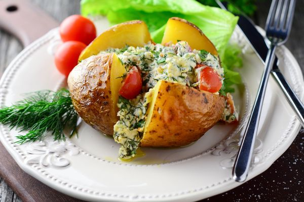 tasty cottage cheese and herb stuffed baked potatoes 12 tomatoes rh 12tomatoes com cottage cheese and baked potato diet cottage cheese baked potato topping