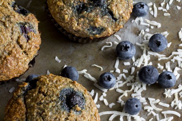 Healthy And Tasty Breakfast Starter: Sweet Coconut Blueberry Bran Muffins