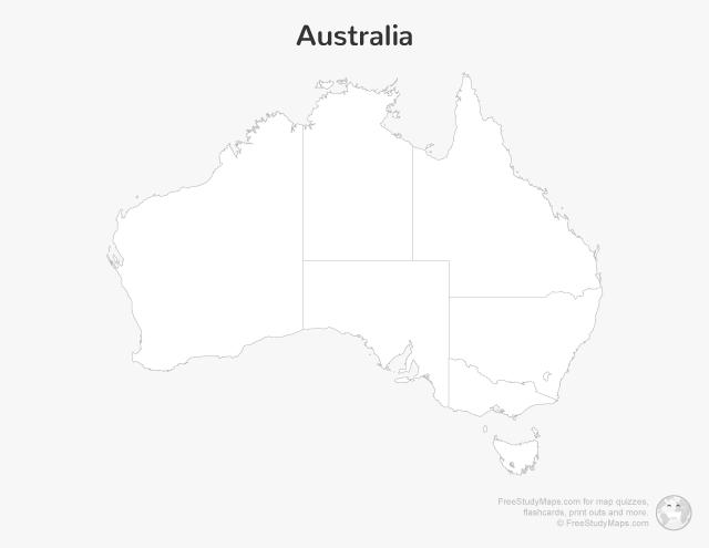 Australia Map Print Out - Blank