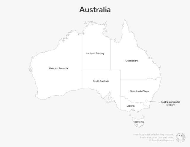 Australia Map Print Out - Labeled