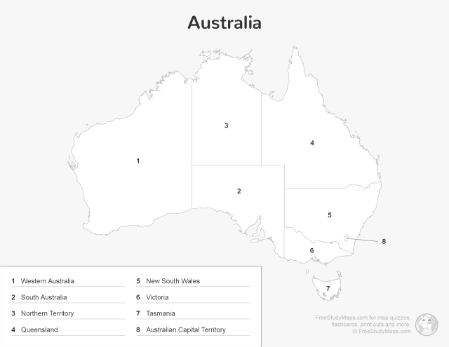 Australia Map Quiz Print Out - Key