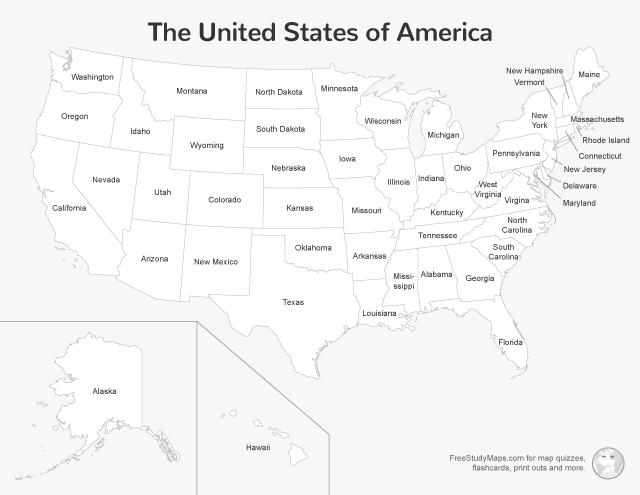 United States Map Print Out - Labeled