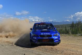 Defending ARA Champions David Higgins and Codriver Craig Drew finished 2nd at the 2019 DirtFish Olympus Rally. Photo credit: Lars Gange / Subaru Motorsports USA
