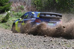 Oliver Solberg's 2019 Subaru WRX STI dominated the rocky DirtFish Olympus Rally roads. Photo credit: Lars Gange / Subaru Motorsports USA