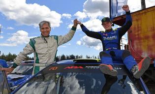Longtime WRC co-driver Denis Giraudet celebrates with driver Oliver Solberg at the 2019 DirtFish Olympus Rally. Photo credit: Lars Gange / Subaru Motorsports USA