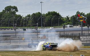 Patrik Sandell celebrates with smoky donuts after his first-ever ARX event win in Sunday's third round of the season.