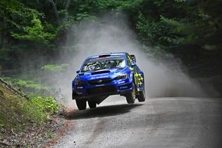 Subaru Motorsports USA teammates David Higgins and Craig Drew earned the overall win at New England Forest Rally, July 20-21.