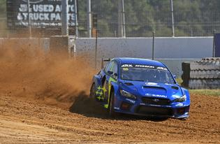 Chris Atkinson sets up a tight right-hander at ARX of Gateway after pitching his WRX STI sideways over the jump.